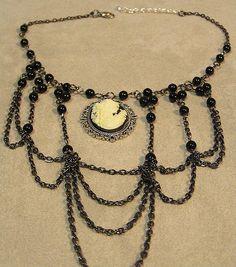 goth victorian necklace with lady cameo xl chocker medieval vampyre lolita tudor romantic gothic boho. $39.99, via Etsy.