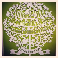 Happily ever after framed wedding papercut tree by floppsiemoppsie, £40.00