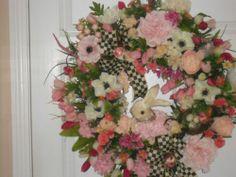 Easter Morning Wreath Sisal Bunny Bows Eggs Church Wildflowers | eBay
