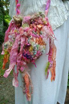 handknit art yarn bag  garden dream bag by beautifulplace on Etsy