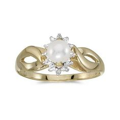 Pearl Wedding Rings Yellow Gold