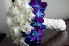 White Roses & Blue Dendrobium Orchids: these are the same exact flowers I chose for my wedding bouquet! But different arrangement 🤗 Blue And Purple Orchids, Blue Dendrobium Orchids, Blue Lilies, Blue Orchid Wedding, Wedding Lavender, Burgundy Wedding, Orchid Bouquet, Orchid Boutonniere, Lily Bouquet