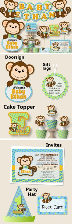 Boy Monkey Baby Shower Decorations, Monkey Birthday Party - Invitation, Favor, Banner, Cake Topper, blue, green #bcpaperdesigns