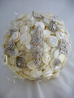 Art Deco Button and Broach Bouquet