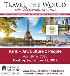 #RazorbacksOnTour,Embrace the essence of Paris and discover the art, culture and joie de vivre of this magnificent city. During your seven-night stay, experience the best of the city on this program, specially crafted with thoughtful symmetry between planned activities and leisure time so that you can explore at your own pace.  Learn more at www.arkansasalumni.org/tours.