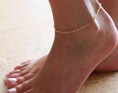 Gold Fußkettchen Gold Knöchel Armband Pfeil von Galis2014 auf Etsy