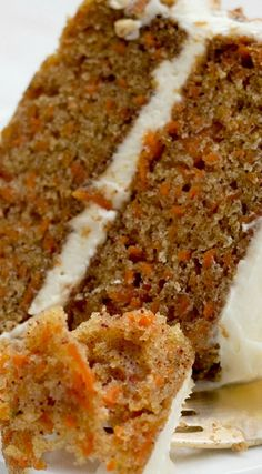 very best homestyle carrot layer cake with cream cheese frosting.The very best homestyle carrot layer cake with cream cheese frosting. Just Desserts, Delicious Desserts, Dessert Recipes, Yummy Food, Layer Cake Recipes, Layer Cakes, Pudding Recipes, Casserole Recipes, Carrot Recipes