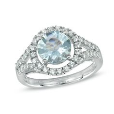 8.0mm Aquamarine and Lab-Created White Sapphire Ring in Sterling Silver - Size 7  - Peoples Jewellers