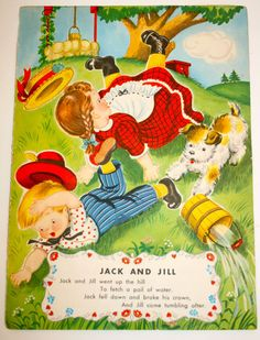 Vintage Nursery Rhyme Jack Jill The Old Woman In Shoe Story Book Page