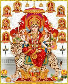 Navratri Puja will help you overcome all your negativities. Flourish with wealth on this Navratri by offering Homam to Lakshmi, Saraswathi & Durga. Shiva Hindu, Shiva Art, Shiva Shakti, Hindu Deities, Hindu Art, Krishna Art, Lord Durga, Durga Ji, Saraswati Goddess