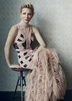 Cate Blanchett wearing Alexander McQueen in the February 2016 issue