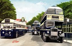 Scarborough, Westwood bus station - East Yorkshire Royal Tiger plus AEC Regent and Leyland Titan both with 'Beverley Bar' roof contours Scarborough England, Vintage Illustration Art, East Yorkshire, Bus Coach, London Transport, Bus Station, Busses, Commercial Vehicle, Transportation