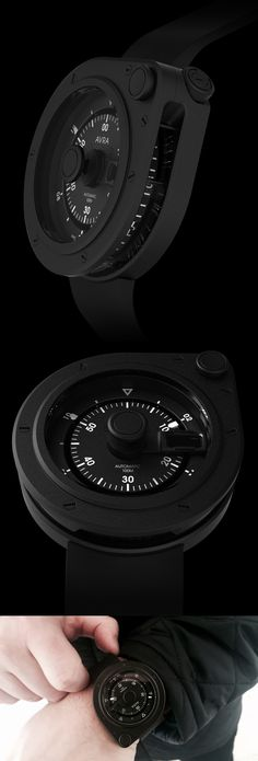 1-Hundred Stainless Steel Black / AVRA /  MOVEMENT: Mechanical Automatic ,  Swiss Made / FUNCTIONS: Hours, Minutes, and Date / CASE: Matte black IP hardened coating. 46mm diameter. Vertical crown lock. 360 degree vertical auxiliary time display. / CRYSTALS Sapphire / WATER-RESISTANCE: 100M/328ft / STRAPS: Black FKM rubber strap.  Steel pin buckle with matte PVD coating.