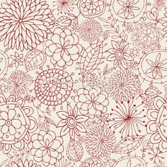 Free motion flowers of all sorts/Seamless Floral Pattern