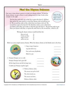 Rhyme Scheme: | Worksheets, School and Language arts