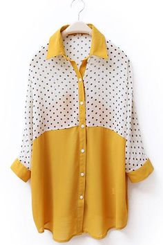 yellow polka dot blouse.