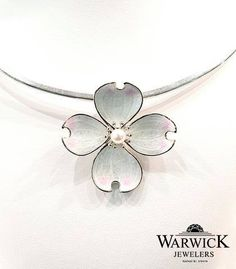 Vitreous Enamel on Sterling Silver Dogwood Choker Necklace from our Nicole Barr collection