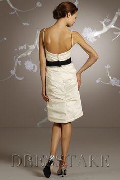 Amazing Sheath / Column Strapless Knee-length Taffeta White Bridesmaid Dresses