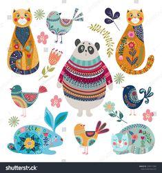 Set of isolated cute animals and birds in folk flat style on a white background, vector illustration , Art And Illustration, Illustrations, Doodle Art, Scandinavian Folk Art, Whimsical Art, Surface Pattern Design, Pet Birds, Art Inspo, Vector Art