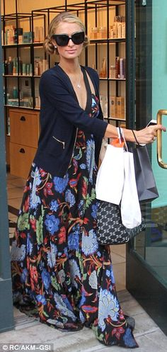 Paris Hilton rocks summer chic in a floral maxi dress in Beverly Hills   Daily Mail Online
