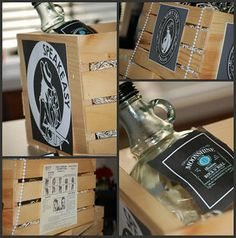 Great Centerpieces or Decorations... Moonshine bottles in wooden crates
