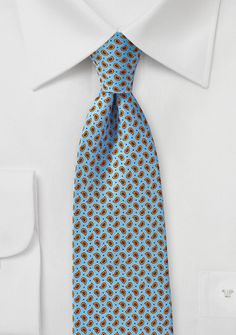 Handprint Silk Tie in Light Blue with Small Orange Paisleys - Explore the boundaries of neck wear with this handprint silk tie in light blue with small paisley pattern. Paisley Pattern, Silk Ties, Color Splash, Light Blue, Style Inspiration, Fashion Outfits, Orange, How To Wear, Clothes