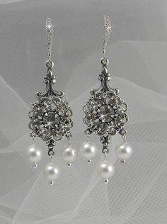 Vintage Style Bridal Earrings Swarovski Crystal by CrystalAvenues, $30.00