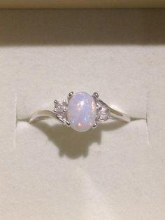 Australian Opal Ring - Genuine Orange and Blue Multicolor Opal Ring with Genuine White Zircons - 14K Optional - CUSTOM