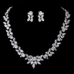 Stunning Cubic Zirconia Necklace and Earring Wedding Jewelry Set! Visit affordableelegancebridal.com for affordable, elegant bridal accessories!