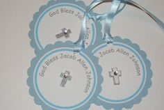 Baptism Christening Thank You / Favor Tags for Boy by TootnBoo, $12.00