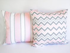 "Pair of pillow covers Two 20"" x 20"" cushion covers pink and gray throw pillow covers nursery decor. $36.00, via Etsy."