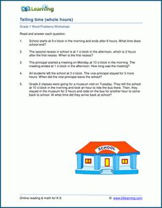 Grade 1 math word problem worksheets on time and elapsed time. Part of a collection of free pdf reading and math worksheets from Learning. Fact Family Worksheet, Time Word Problems, Good Study Habits, 1st Grade Math Worksheets, Math Words, Elapsed Time, Fact Families, Programming For Kids, Grade 1