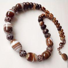 Бусы колье из Агата нефрита купить в подарок украшение на шею из натуральных камней