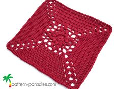 Rose Cross Afghan Square - free crochet square pattern by Maria Bittner at Pattern Paradise. Part 2 of the Rosary Hill Afghan CAL. Crochet Afghans, Crochet Squares Afghan, Granny Square Afghan, Crochet Square Patterns, Crochet Blocks, Afghan Patterns, Crochet Granny, Crochet Motif, Granny Squares