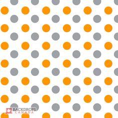 Large Orange & Grey Polka Dot Backdrop. Order online at www.backdropscanada.ca
