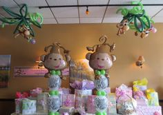 twin monkey baby shower theme