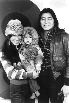 "Buffy Sainte-Marie ,Sheldon Wolfchild and their son Dakota ""Cody"" Starblanket Wolfchild."