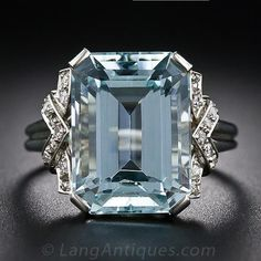 Art Deco Aquamarine and Diamond Ring - 30-1-5133 - Lang Antiques.