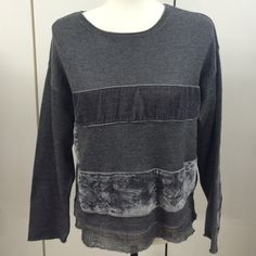 """J. Jill small sweater Sweater by J. Jill in gray with velvet patches in front/back and elbows. It has beautiful stitching on the bottom with a metallic silver all around the sweater. Measurements laying flat: chest 19"""", sleeves 19"""",  shoulder to bottom 19 1/2"""" J. Jill Sweaters Crew & Scoop Necks"""