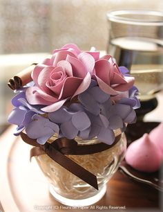 $Fleurs de Papier ~クラフトパンチや花紙で作る立体のお花いろいろ~-クラフトパンチフラワーアレンジメント