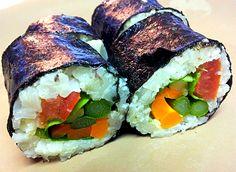 "Homemade Vegan ""Sushi"" – Vegetable stuffed Nori Rolls with Cauliflower ""Rice"" (Vegan, Gluten-Free, Fat-Free, Oil-Free, Sugar-Free)"