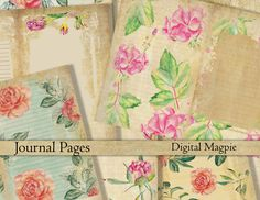 printable journal pages Vintage floral digital download antique flowers paper pack shabby diy journaling collage sheet instant download by DigitalMagpie on Etsy