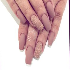 Nude + Gold Glitter Tapered Square Tip Long Nails. Classy & Elegant. #nail #nailart