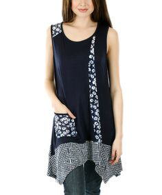 Another great find on #zulily! Blue & White Floral Patchwork Handkerchief Tunic - Plus by Aster #zulilyfinds