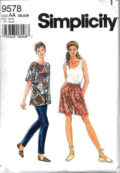 Simplicity 9578 Misses Separates Sewing Pattern, Pullover Short Sleeve Top & Tank Top, Pull-On Pants And Shorts, XS-M, UNCUT by DawnsDesignBoutique on Etsy
