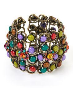 Love this Green & Purple Stone Cuff on #zulily! #zulilyfinds