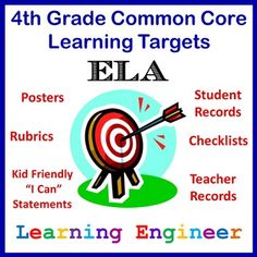 Includes all the Common Core ELA Standards for 4th Grade  • Posters • Individual Student Record Sheets • Whole Class Checklist • Teaching Record Sheets • Index for each subject area • Student Friendly Language $ #LearningTargets