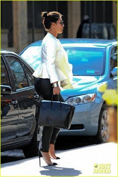 8507d85ec2f0 Kim Kardashian wearing Hermes Black Birkin bag Christian Louboutin Un Bout  GIVENCHY flared jacket in White. Kim Kardashian Out to Eat in NYC April 28