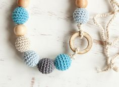 Coconut ring nursing necklace  - blue grey - Sling Accessory - breastfeeding necklace