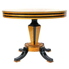 Art Deco Table Sweden Circa 1920s Rount table on a central base